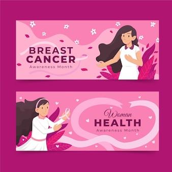 Set di banner orizzontali per la giornata internazionale piatta contro il cancro al seno