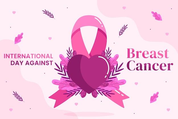 乳がんのイラストに対するフラット国際デー