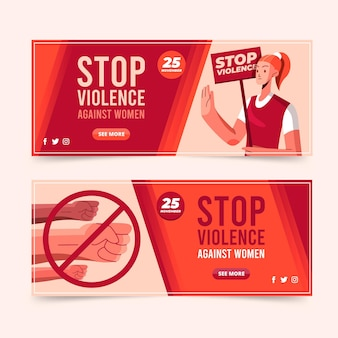 Flat international day for the elimination of violence against women horizontal banners set