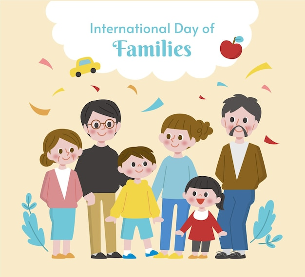 Flat international day of families illustration