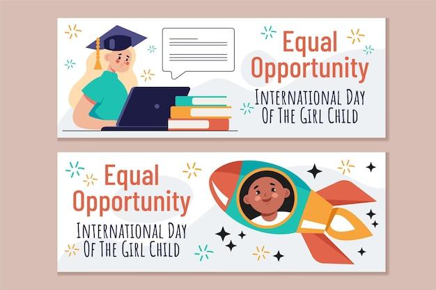 Flat international day of the girl child horizontal banners set