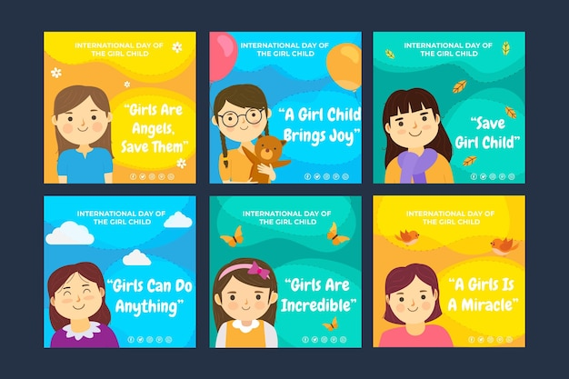 Flat international day of the girl child instagram posts collection