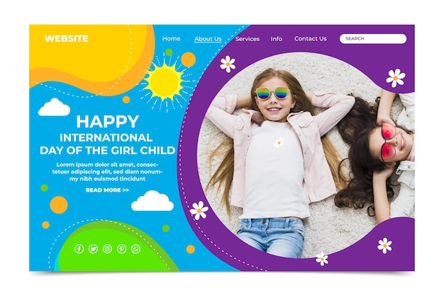 Flat international day of the girl child landing page template with photo