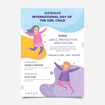 Flat international day of the girl child vertical poster template