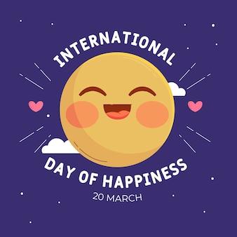 Flat international day of happiness illustration