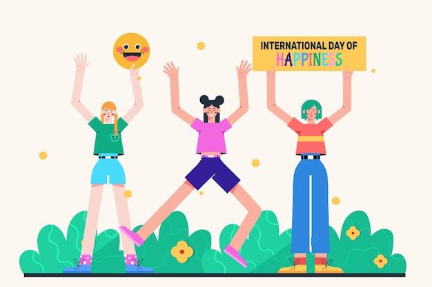 フラットな国際幸福デーのイラスト