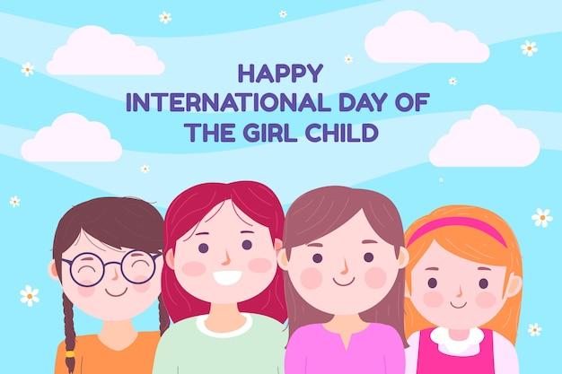女児背景のフラット国際デー