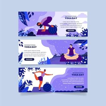ヨガバナーセットのフラット国際デー