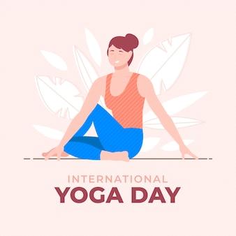 Плоский международный день йоги иллюстрации