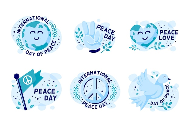 Flat international day of peace labels