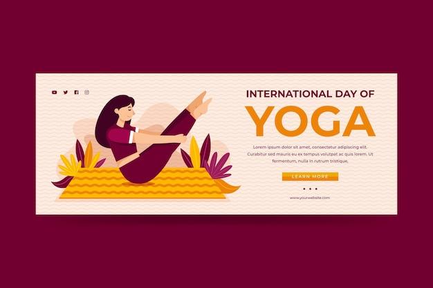 Modello di banner piatto giornata internazionale di yoga