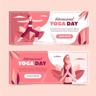 Flat international day of yoga banners set