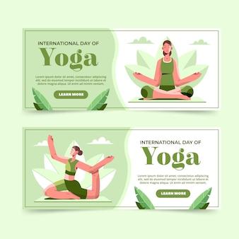 Flat international day of yoga banners set