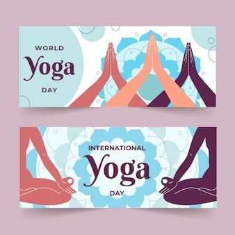Set di banner piatto giornata internazionale di yoga
