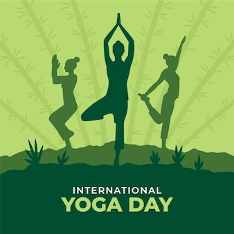 Flat international day of yoga illustration
