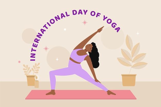 Flat international day of yoga illustration