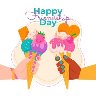 Flat international friendship day illustration