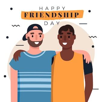 フラットな国際友情の日のイラスト