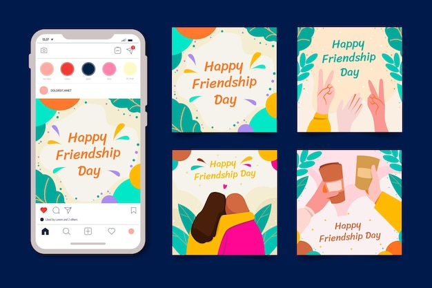 Flat international friendship day instagram posts collection Free Vector