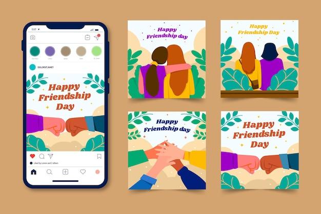 Flat international friendship day instagram posts collection