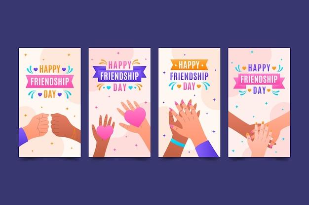 Flat international friendship day instagram stories collection
