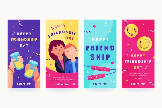 Flat international friendship day instagram stories collection Free Vector