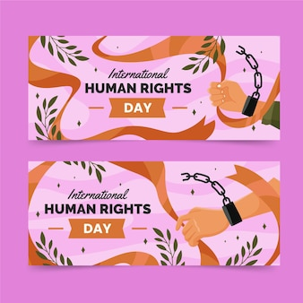 Flat international human rights day horizontal banners set with chain cuffed hands