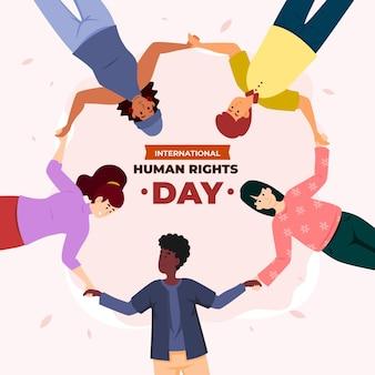 Illustrazione piatta della giornata internazionale dei diritti umani con persone che si tengono per mano