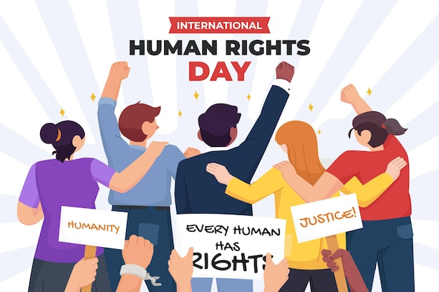 Flat international human rights day illustration with people and placards