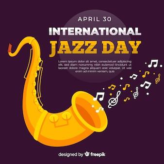 Flat international jazz day background