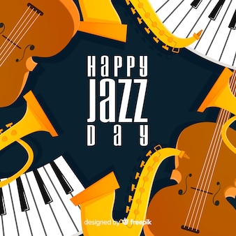 Flat international jazz day background