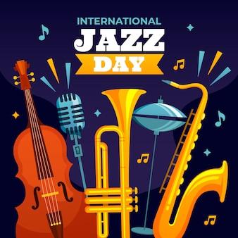 Flat international jazz day concept