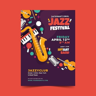 Flat international jazz day flyer template