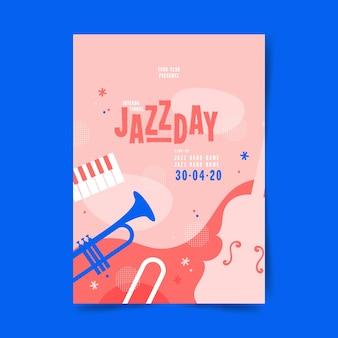 Flat international jazz day flyer template