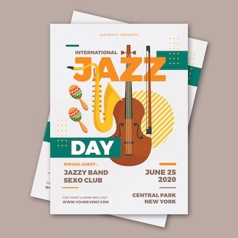 Flat international jazz day flyer