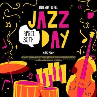 Flat international jazz day illustration