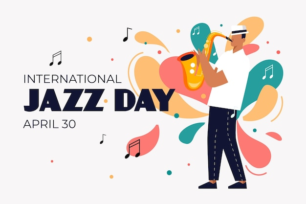 Flat international jazz day illustration