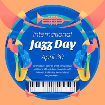 Плоский международный день джаза Premium векторы