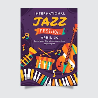 Flat international jazz day poster template