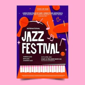 플랫 국제 재즈 데이 포스터 템플릿