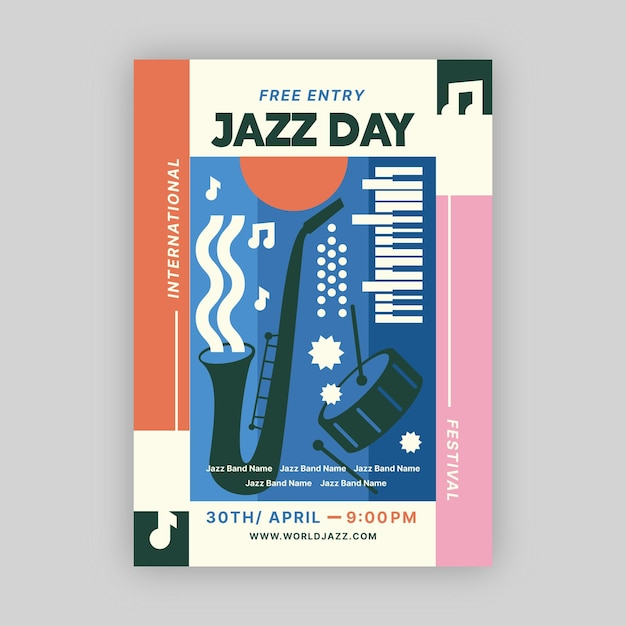 Flat international jazz day poster template