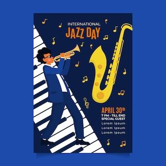 Плоский шаблон плаката международного дня джаза Бесплатные векторы