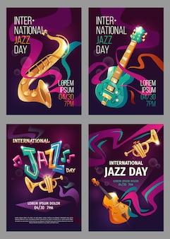 Плоский шаблон плаката международного дня джаза
