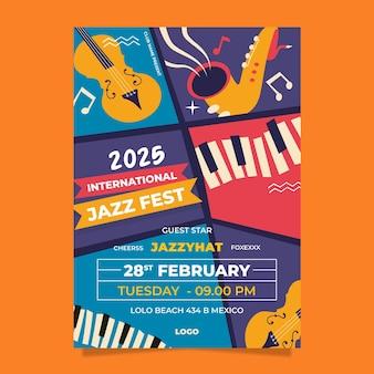 Плоский шаблон вертикального плаката международного дня джаза