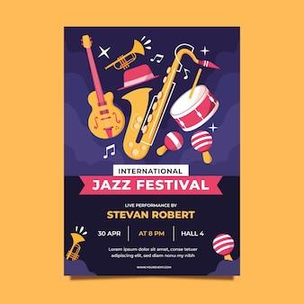 Flat international jazz day vertical poster template