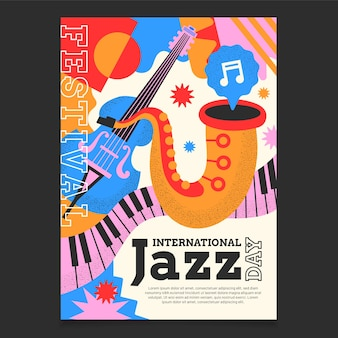 Flat international jazz day vertical poster template