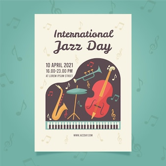 평면 국제 재즈 데이 세로 포스터 템플릿