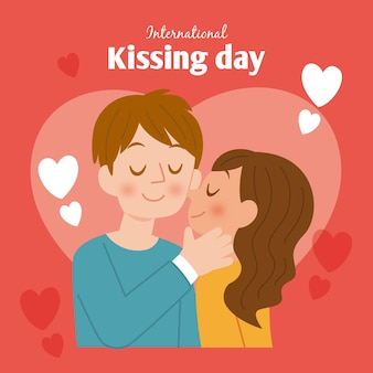 カップルとフラットな国際キスの日のイラスト 無料ベクター
