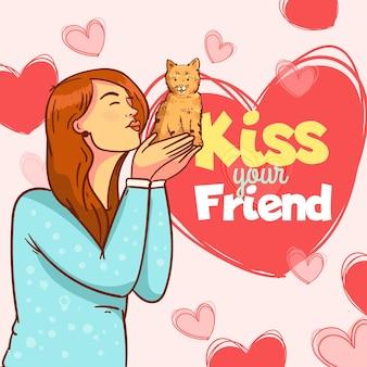 女性と猫とフラットな国際キスの日のイラスト