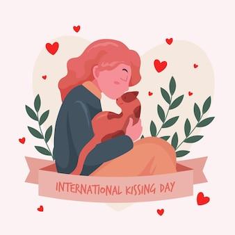 여자와 고양이와 평면 국제 키스의 날 그림